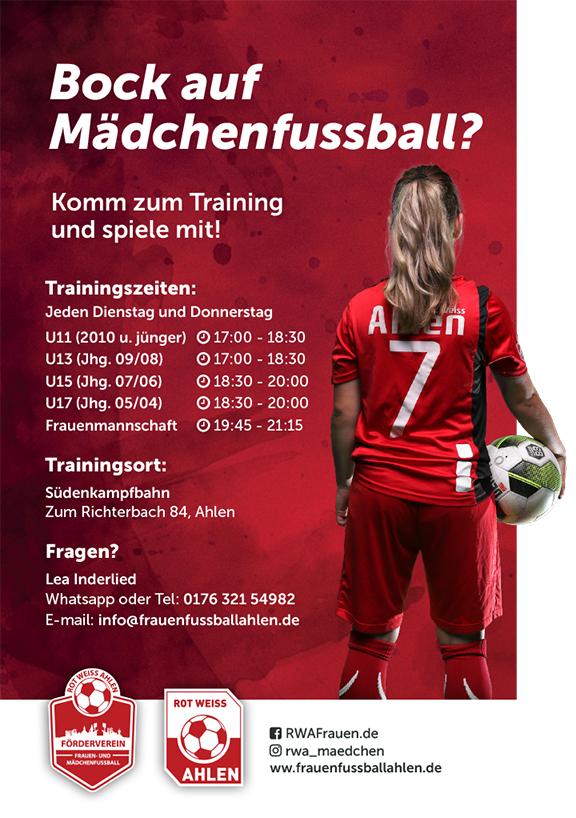 Frauen und Mädchenfussball Trainingszeiten Ahlen
